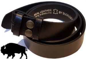 38mm Genuine BUFFALO Hide Black Snap Fit Leather Belt 1.5 inches wide